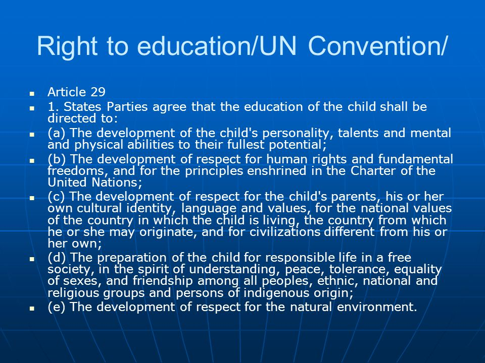 Right to education/UN Convention/