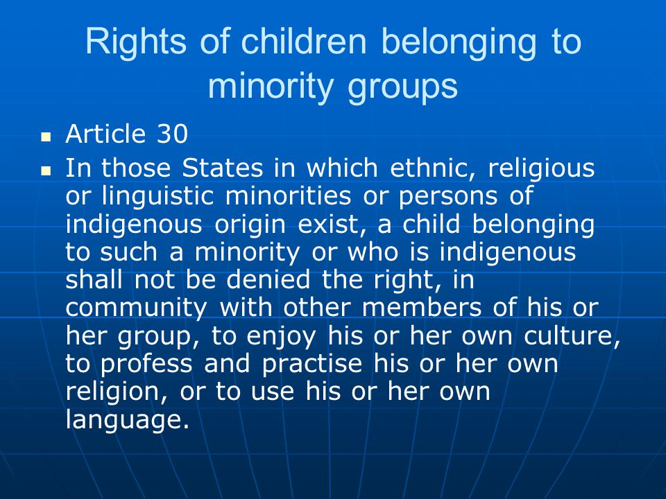 Rights of children belonging to minority groups