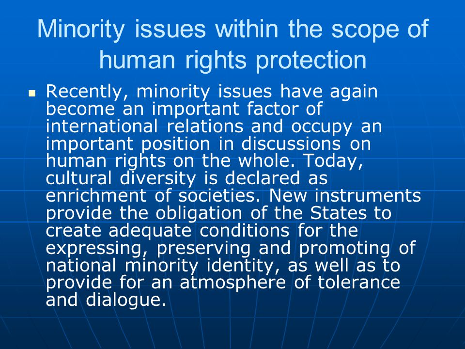Minority issues within the scope of human rights protection