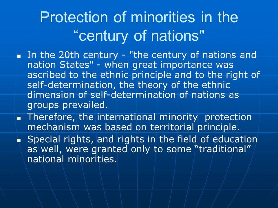 Protection of minorities in the century of nations