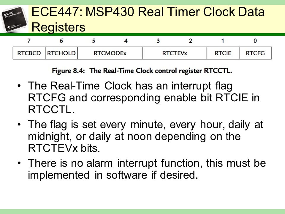 ECE447: MSP430 Real Timer Clock Data Registers