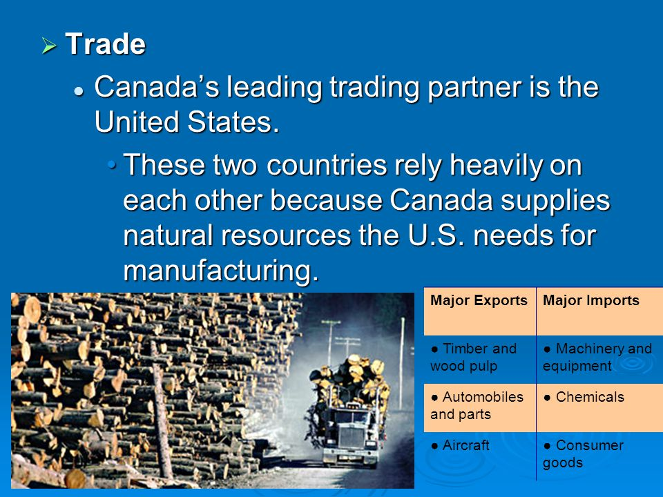 Canada's leading trading partner is the United States.