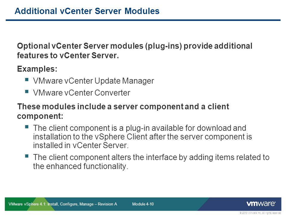 Additional vCenter Server Modules