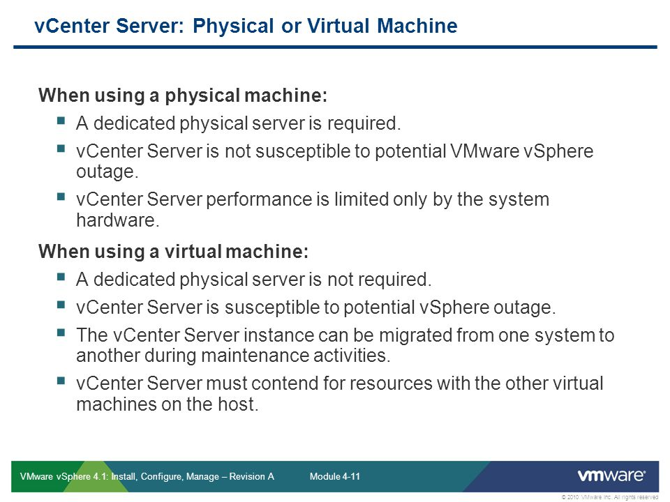 vCenter Server: Physical or Virtual Machine