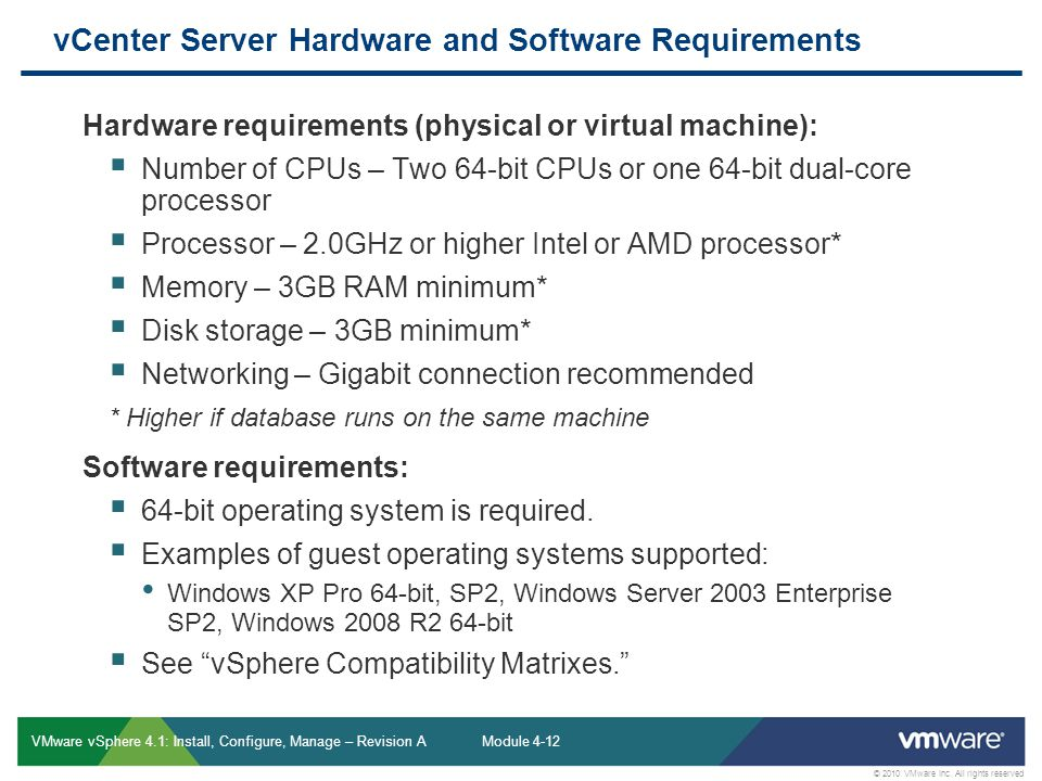 vCenter Server Hardware and Software Requirements