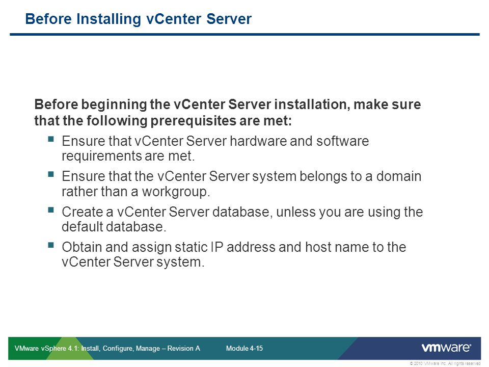 Before Installing vCenter Server