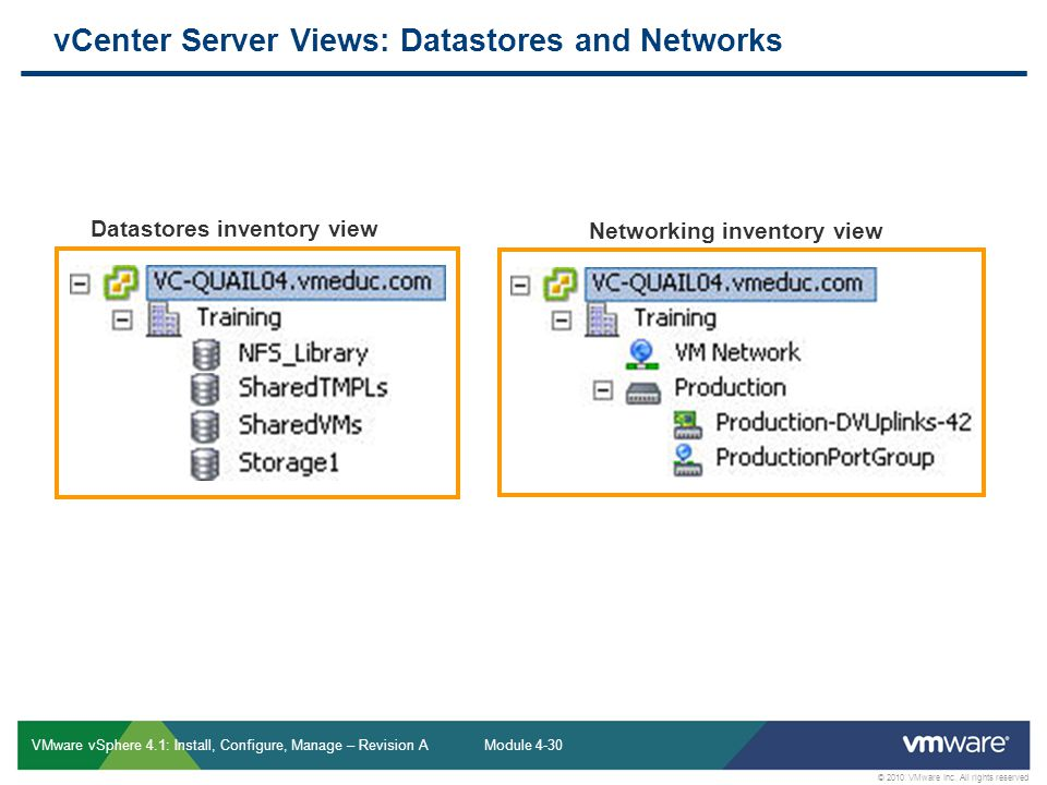 vCenter Server Views: Datastores and Networks