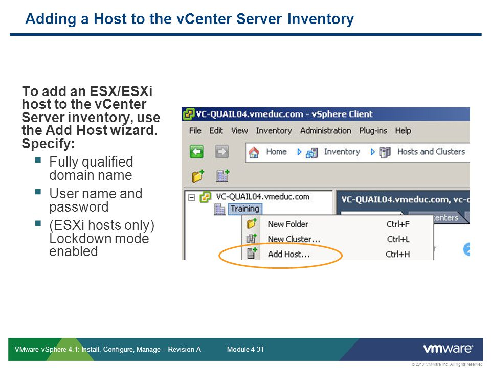 Adding a Host to the vCenter Server Inventory