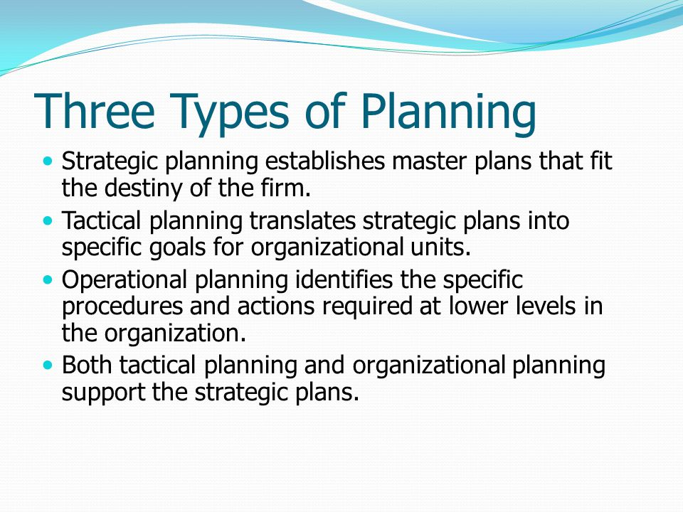 Three Types of Planning