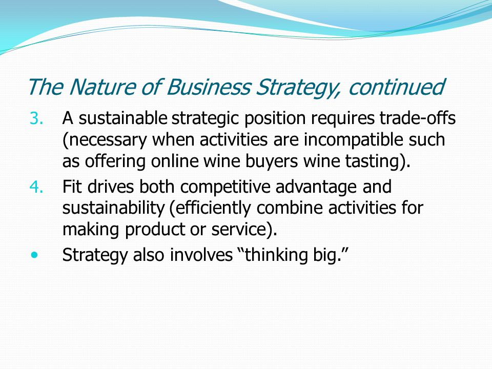 The Nature of Business Strategy, continued
