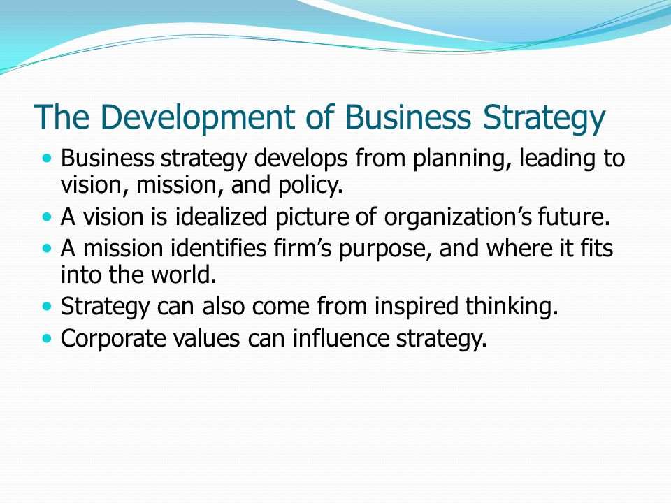 The Development of Business Strategy