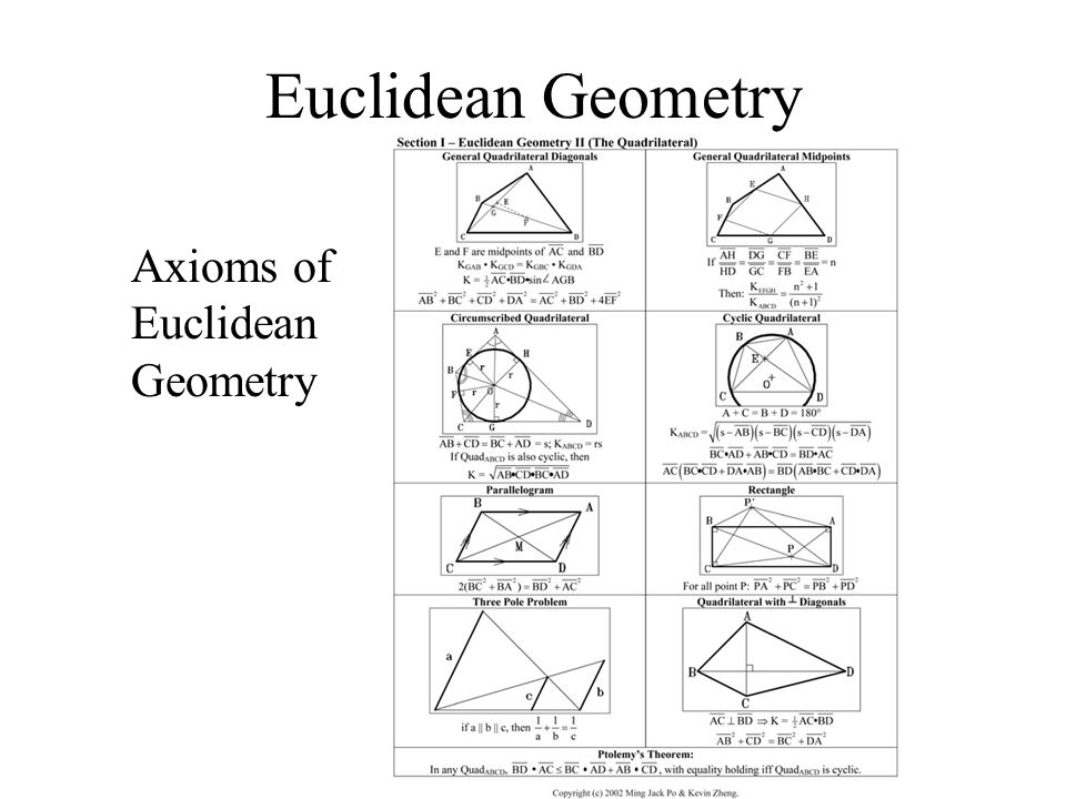 an analysis of euclidean geometry This study investigated an understanding of euclidean geometry with specific reference to cyclic quadrilaterals and tangent theorems of a group of grade 12 learners' at an independent school.