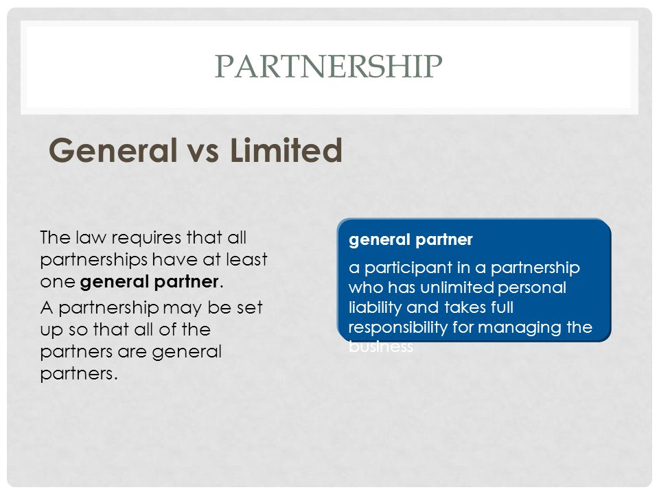 General vs Limited Partnership