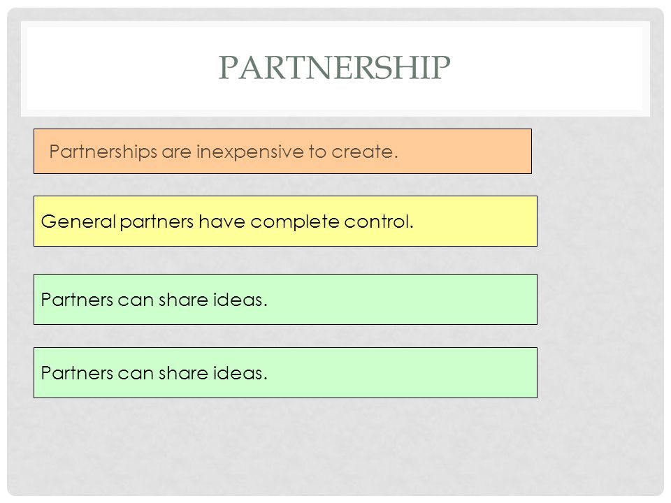 Partnership Partnerships are inexpensive to create.