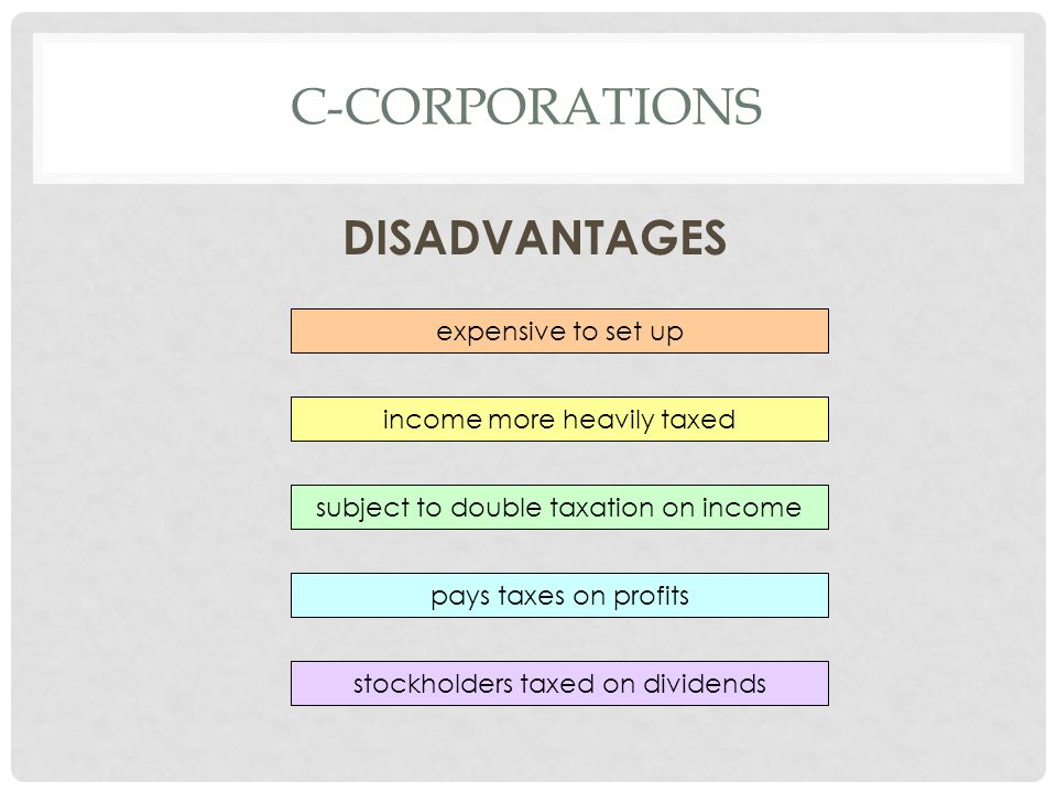C-corporations DISADVANTAGES expensive to set up