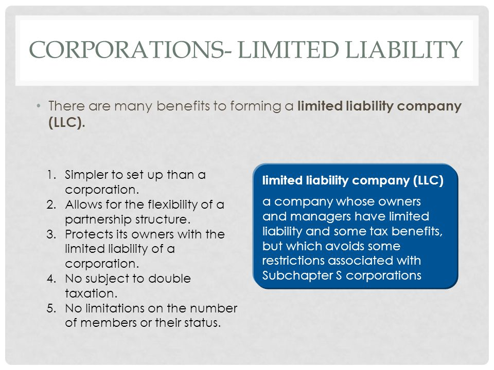 Corporations- limited liability