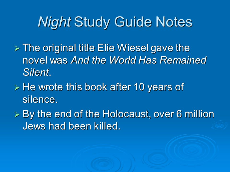 an overview of the novel night by elie wiesel Overview night by elie weisel  night by elie weisel summary  dawn study guide consists of approx 27 pages of summaries and analysis on dawn by elie wiesel.