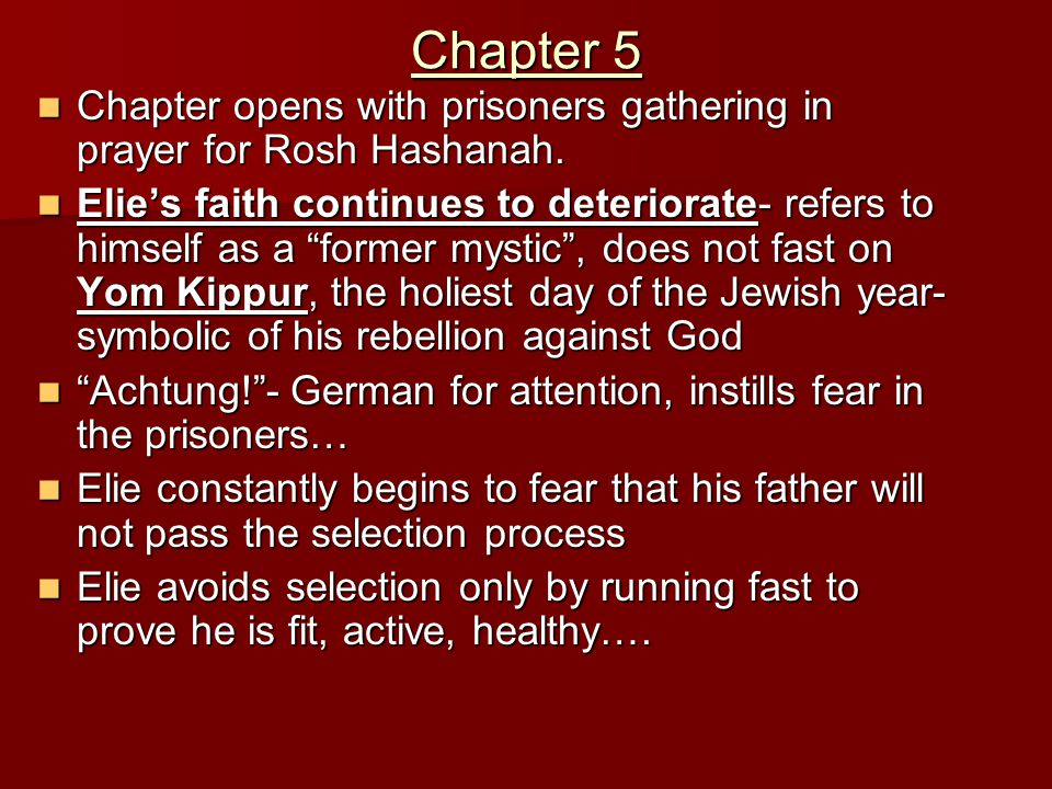 night elie wiesel chapter 5 summary