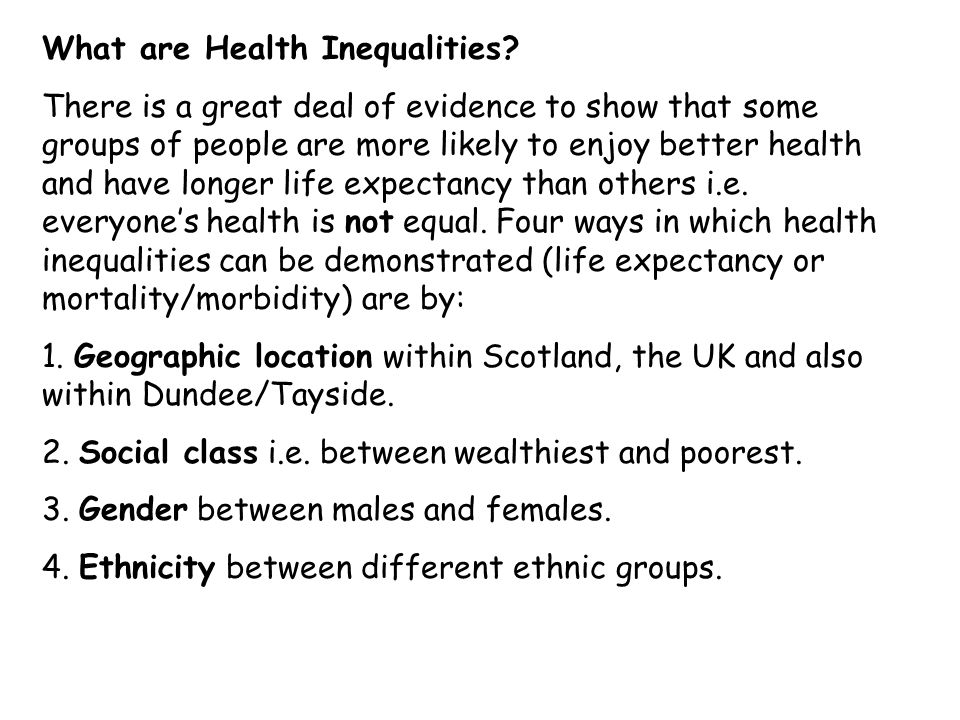 What are Health Inequalities