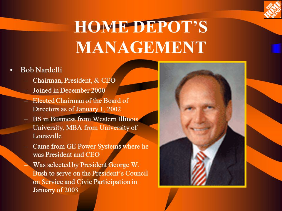 home depot and bob nardelli When robert nardelli arrived at home depot in december 2000, the deck seemed stacked against the new ceo he had no retailing experience and, in fact, had spent an entire career in industrial, not.