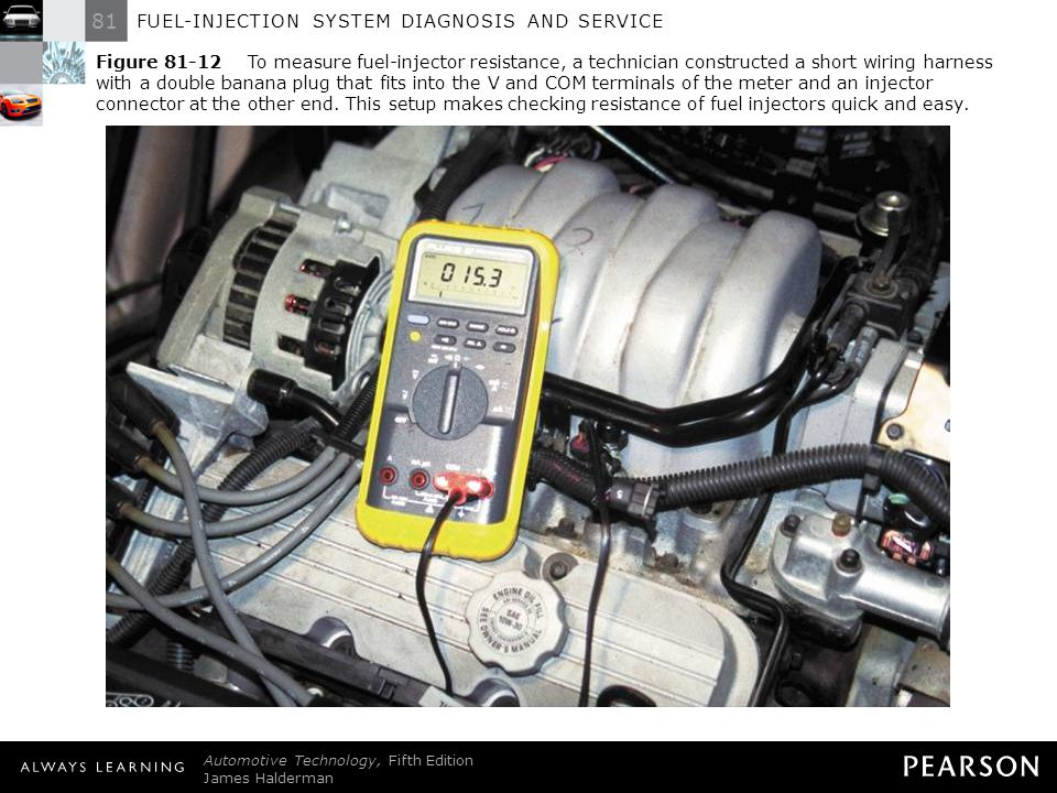 Figure To measure fuel-injector resistance, a technician constructed a short wiring harness with a double banana plug that fits into the V and COM terminals of the meter and an injector connector at the other end. This setup makes checking resistance of fuel injectors quick and easy.