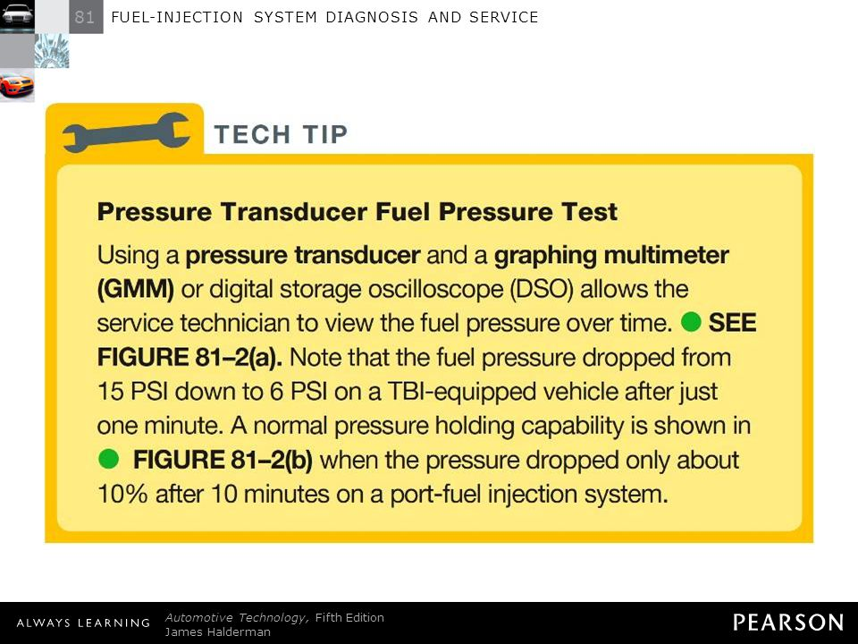 TECH TIP: Pressure Transducer Fuel Pressure Test Using a pressure transducer and a graphing multimeter (GMM) or digital storage oscilloscope (DSO) allows the service technician to view the fuel pressure over time. - SEE FIGURE 81–2(a) . Note that the fuel pressure dropped from 15 PSI down to 6 PSI on a TBI-equipped vehicle after just one minute. A normal pressure holding capability is shown in - FIGURE 81–2(b) when the pressure dropped only about 10% after 10 minutes on a port-fuel injection system.