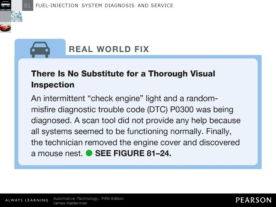 REAL WORLD FIX: There Is No Substitute for a Thorough Visual Inspection An intermittent check engine light and a randommisfire diagnostic trouble code (DTC) P0300 was being diagnosed. A scan tool did not provide any help because all systems seemed to be functioning normally. Finally, the technician removed the engine cover and discovered a mouse nest.  SEE FIGURE 81–24 .