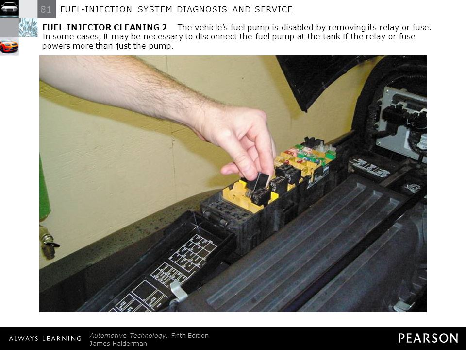 FUEL INJECTOR CLEANING 2 The vehicle's fuel pump is disabled by removing its relay or fuse. In some cases, it may be necessary to disconnect the fuel pump at the tank if the relay or fuse powers more than just the pump.
