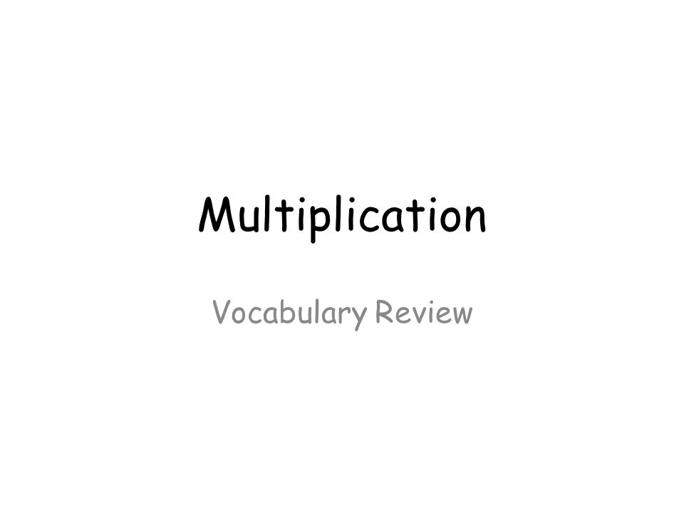 Multiplication Vocabulary Review