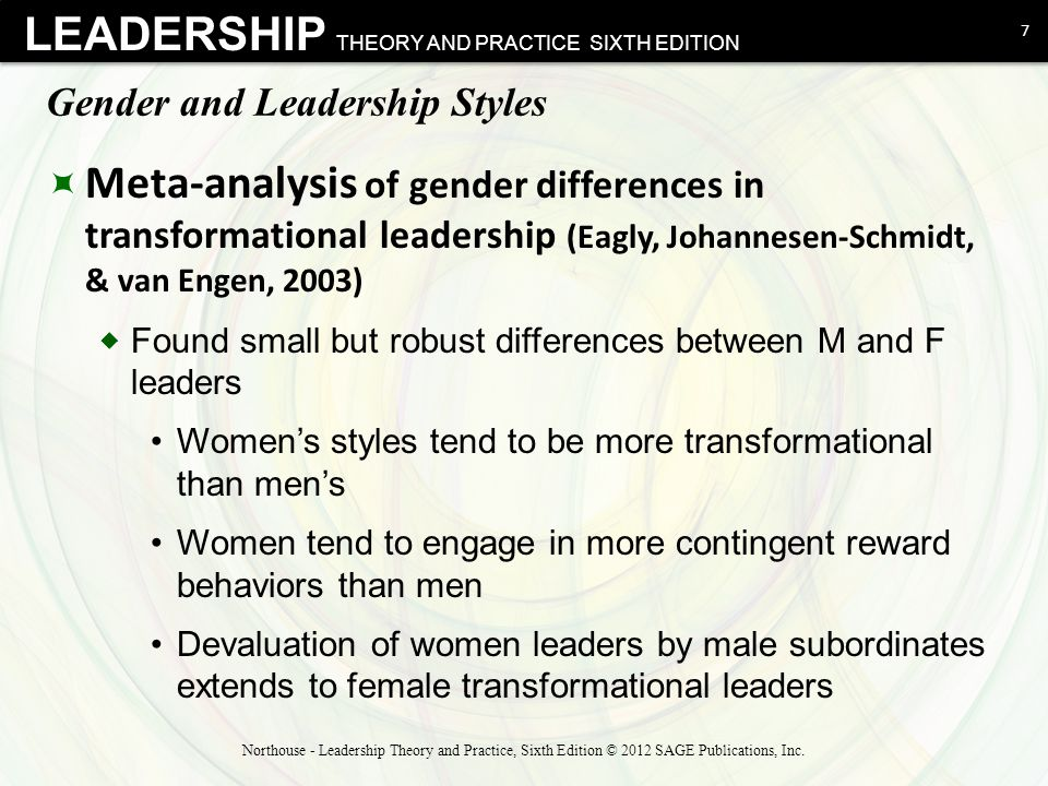 gender and leadership style Feminine or masculine characteristics in leadership styles is related to the construct of gender (larson and freeman, 1997) gender, race, class, and other elements of social difference are.
