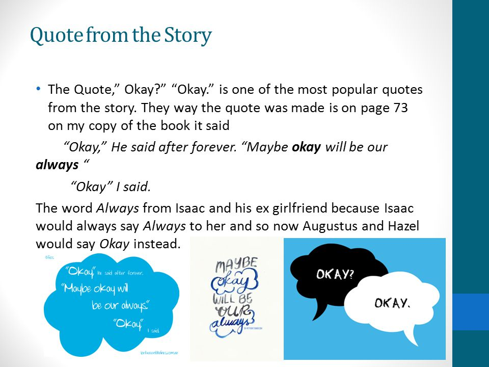 Image of: Books Quote From The Story Slideplayer My Book Report On The Fault In Our Stars By John Green Ppt Video