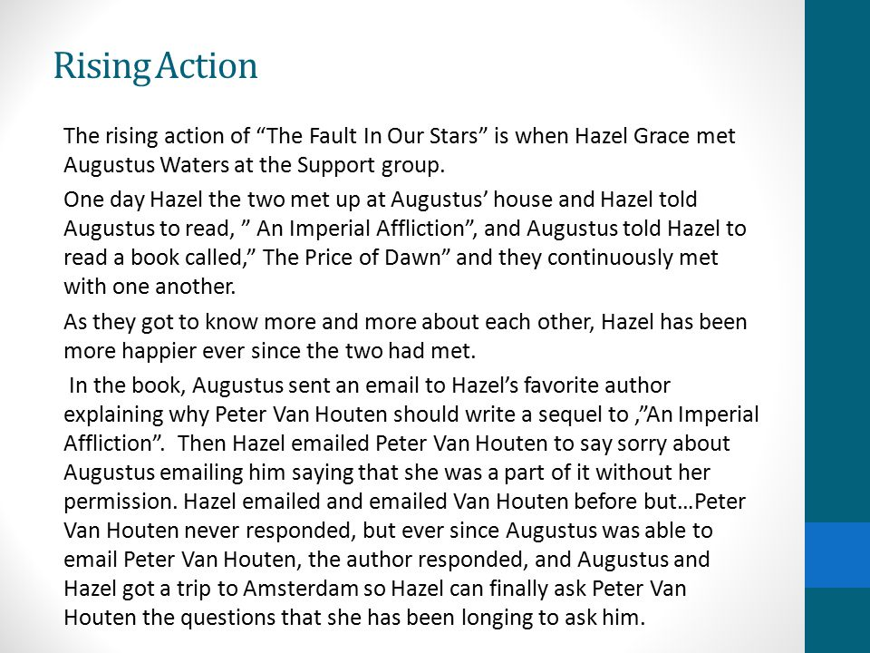 Image of: John Green Rising Action The Rising Action Of the Fault In Our Stars Slideplayer My Book Report On The Fault In Our Stars By John Green Ppt Video