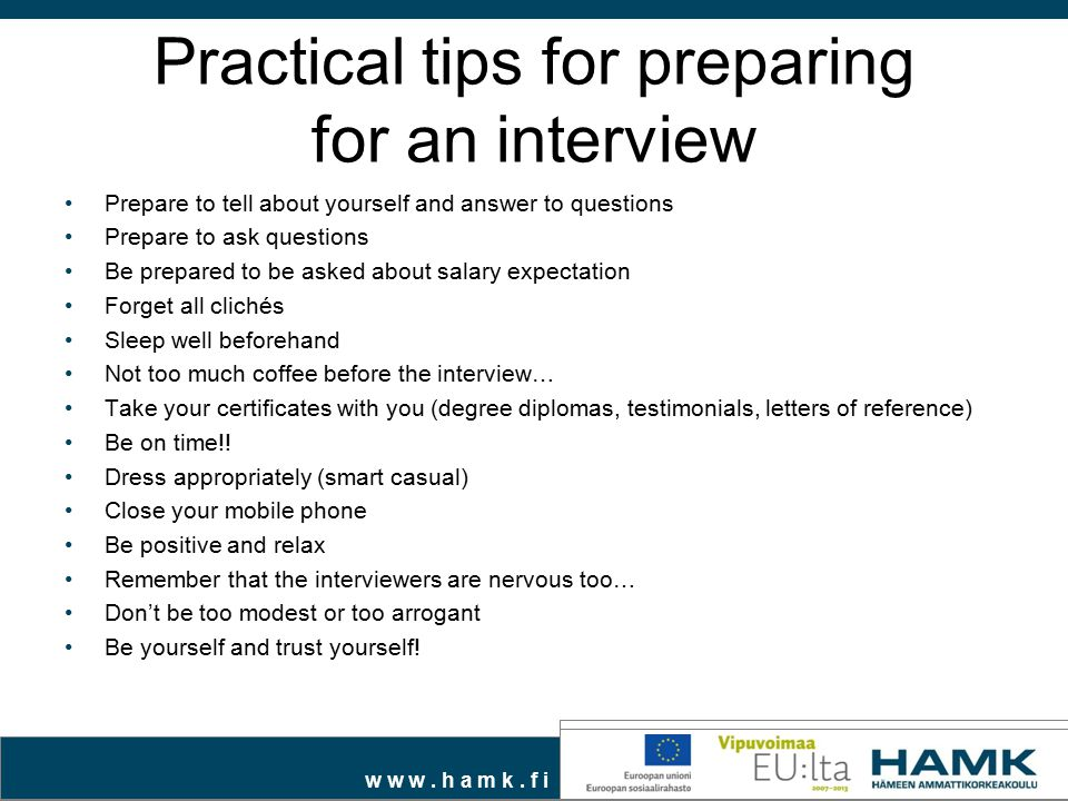 Practical tips for preparing for an interview