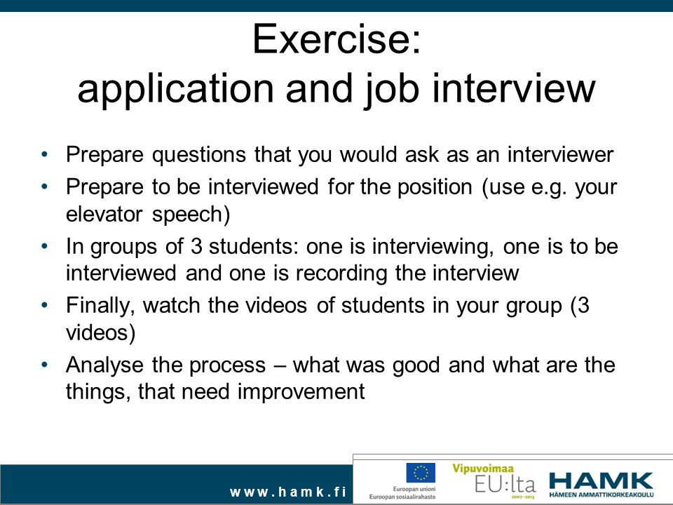 Exercise: application and job interview