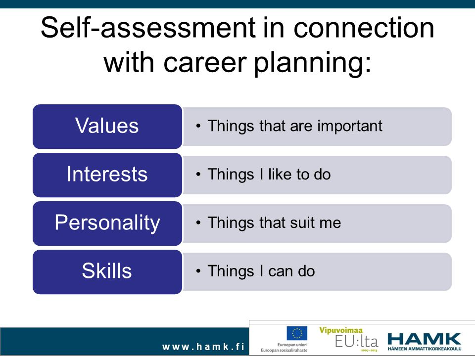 Self-assessment in connection with career planning: