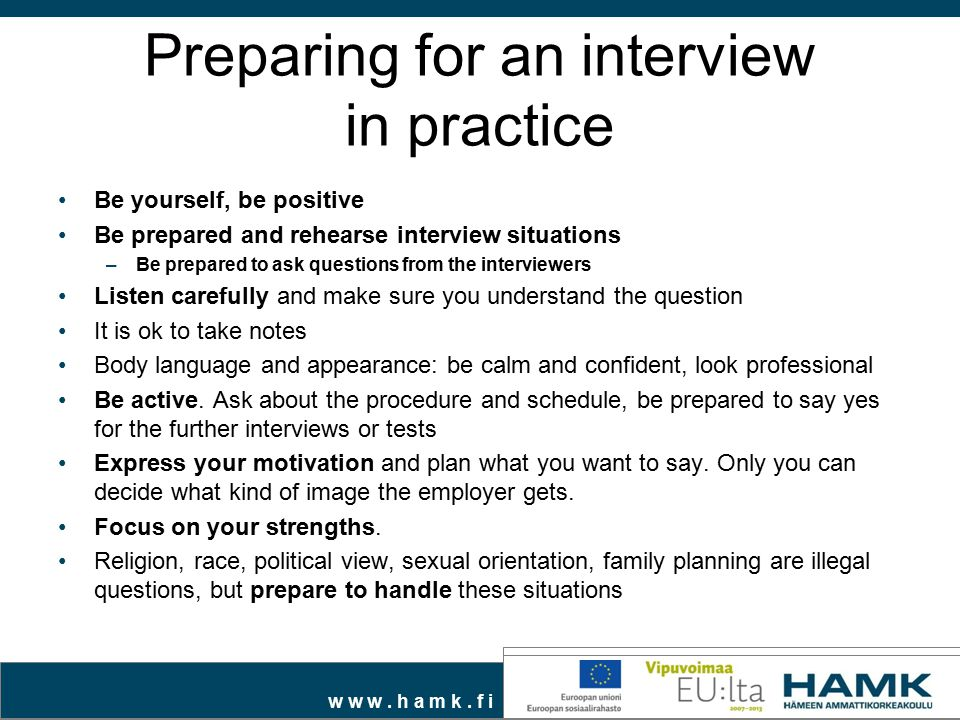 Preparing for an interview in practice