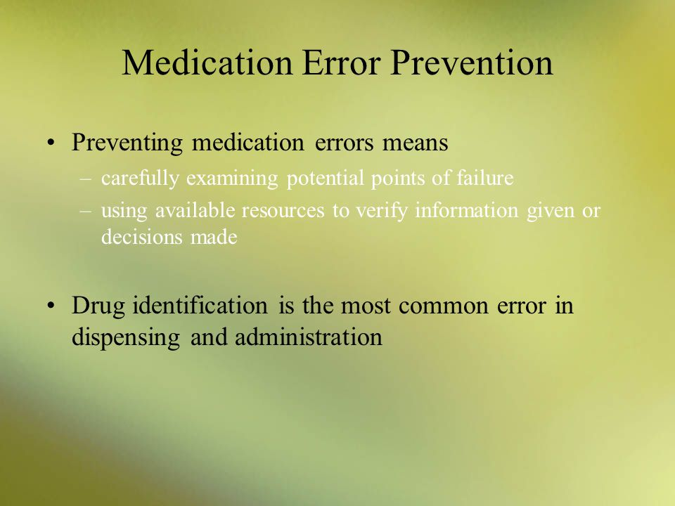 What Is Medication Error Prevention Initiative