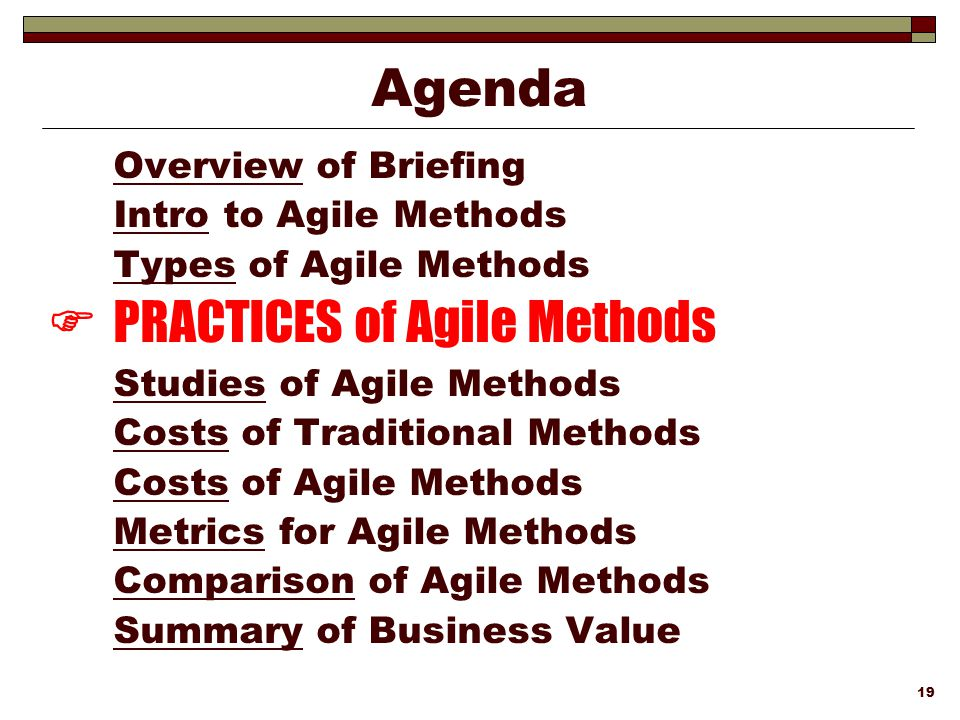  PRACTICES of Agile Methods