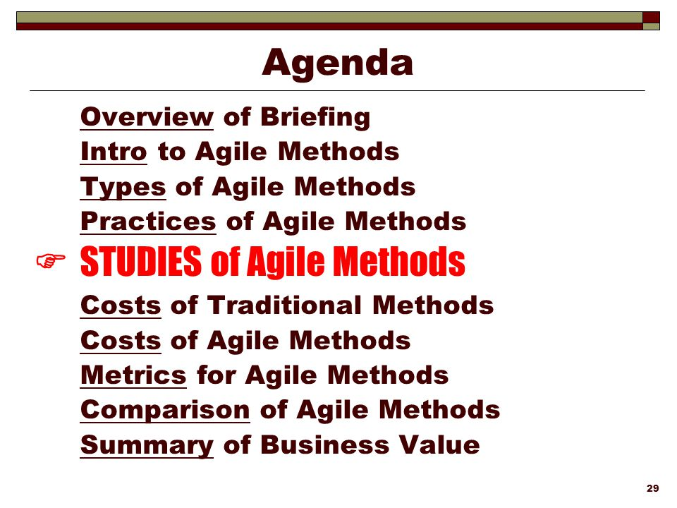  STUDIES of Agile Methods
