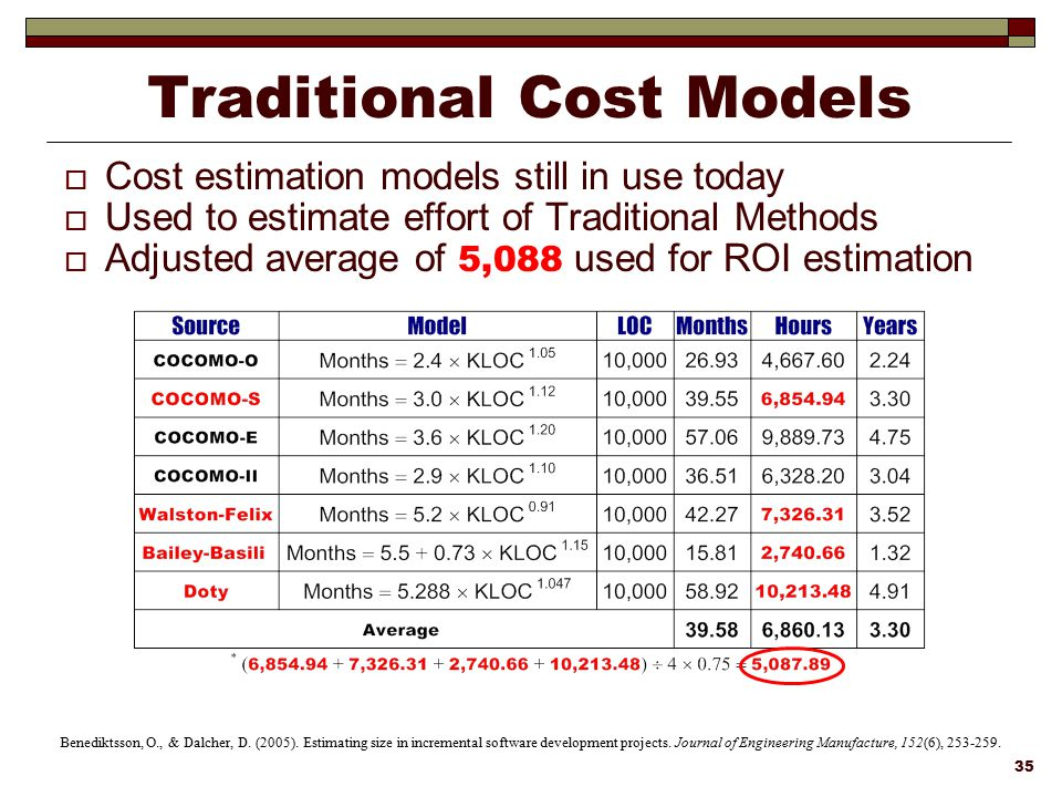 Traditional Cost Models