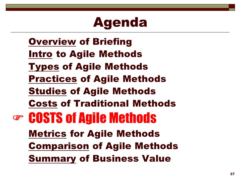  COSTS of Agile Methods
