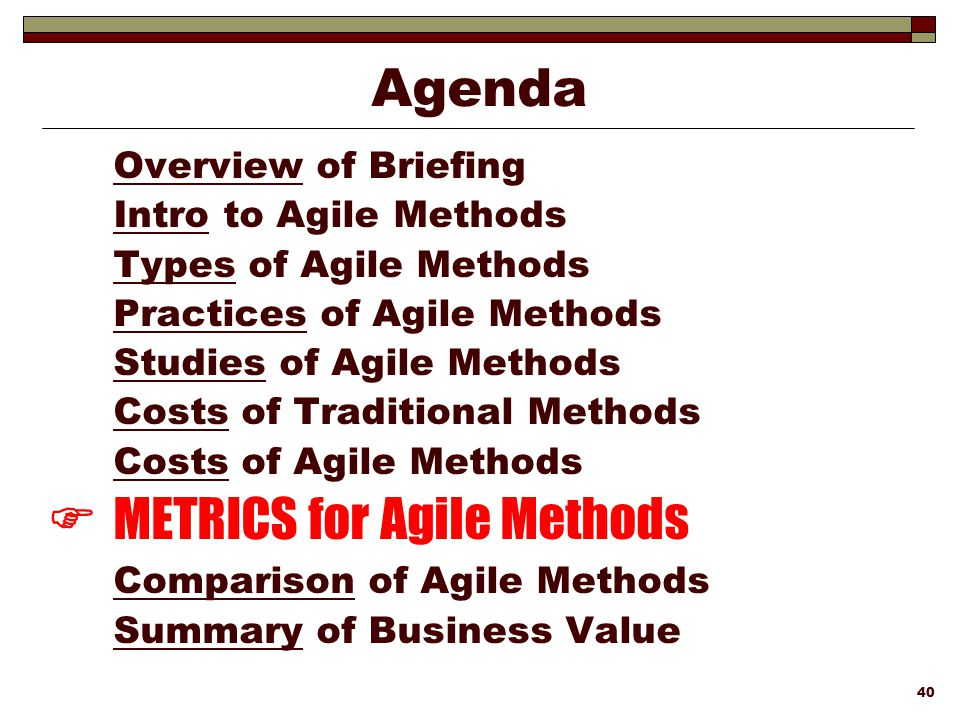  METRICS for Agile Methods