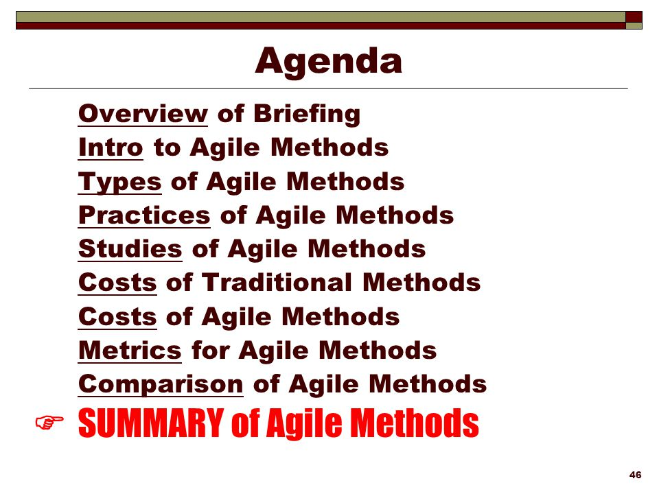  SUMMARY of Agile Methods