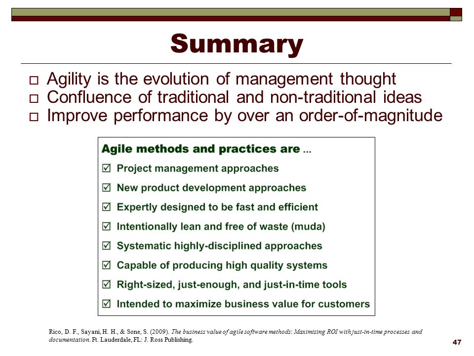 Summary Agility is the evolution of management thought