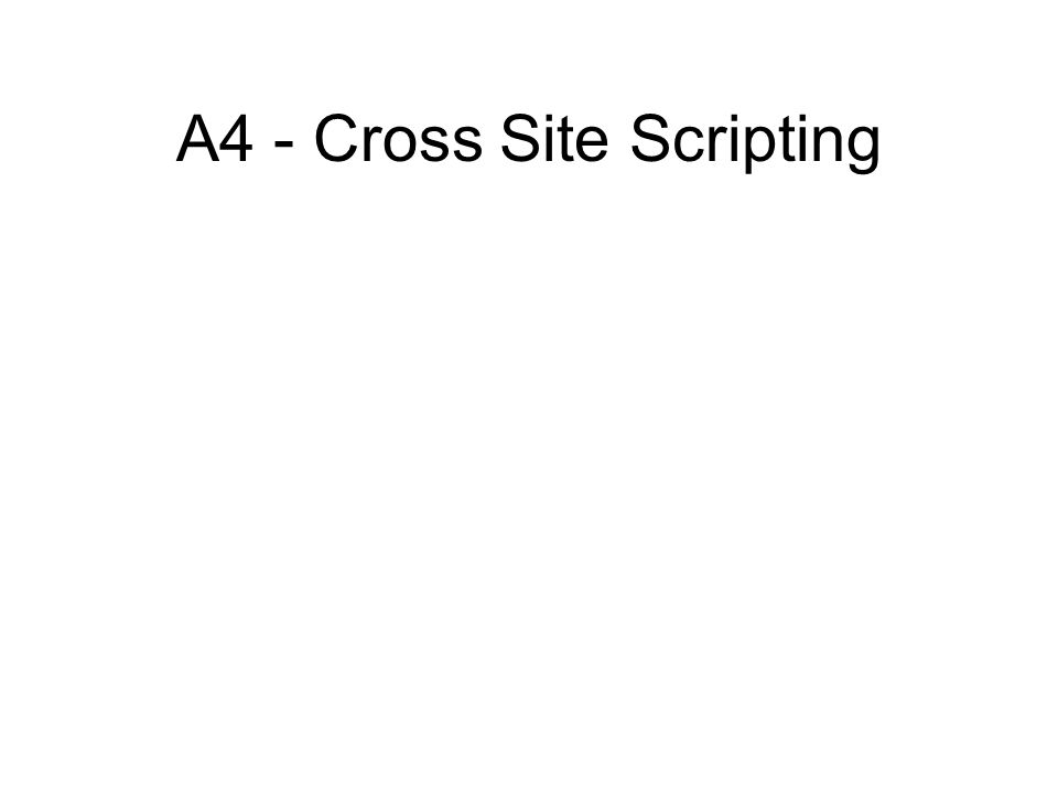 A4 - Cross Site Scripting