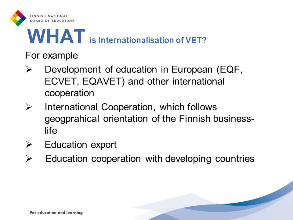 WHAT is Internationalisation of VET
