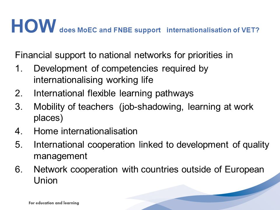 HOW does MoEC and FNBE support internationalisation of VET