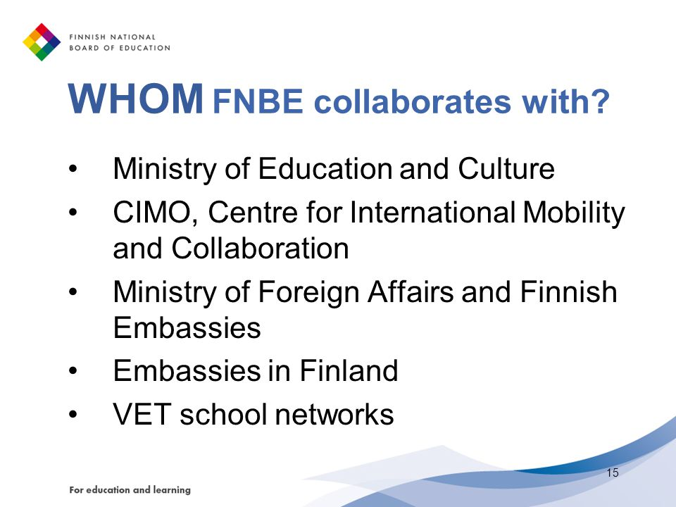 WHOM FNBE collaborates with