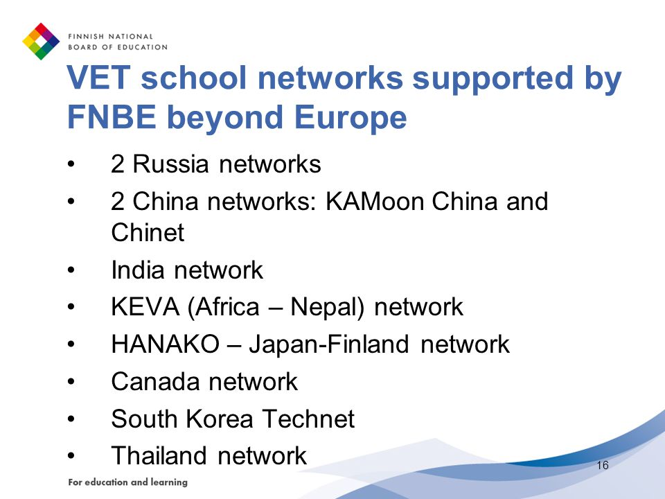 VET school networks supported by FNBE beyond Europe