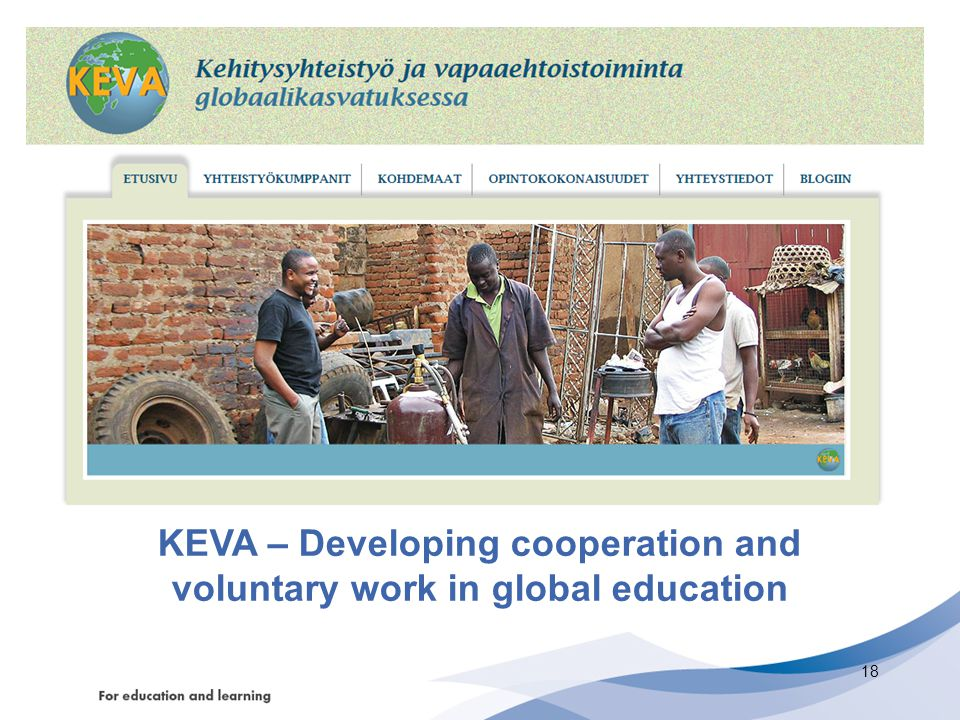 KEVA – Developing cooperation and voluntary work in global education